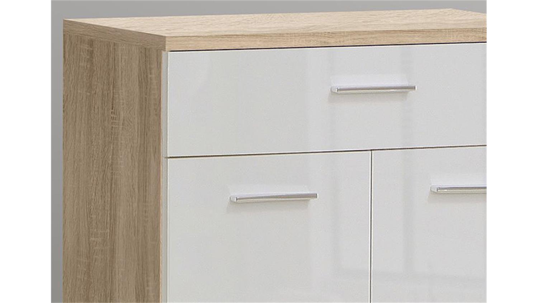 kommode ii fit sonoma eiche und wei glanz. Black Bedroom Furniture Sets. Home Design Ideas
