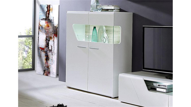 kommode kando mdf wei hochglanz und sandeiche. Black Bedroom Furniture Sets. Home Design Ideas
