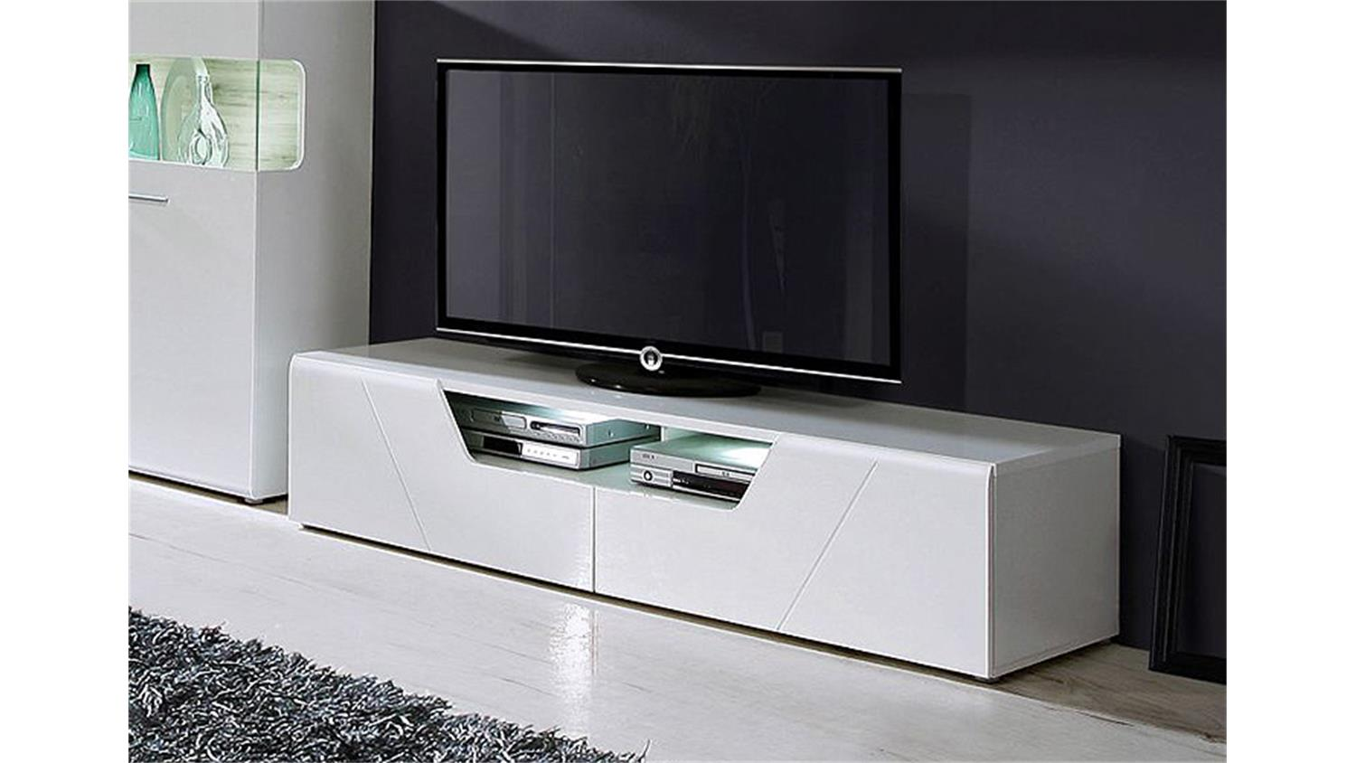 tv board kando unterschrank lowboard in mdf wei hochglanz. Black Bedroom Furniture Sets. Home Design Ideas