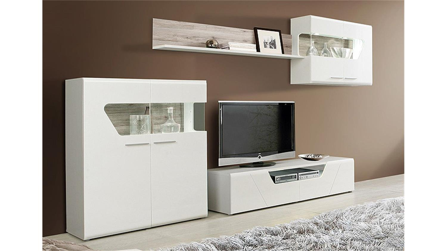 wohnwand kando mdf wei hochglanz und sandeiche. Black Bedroom Furniture Sets. Home Design Ideas