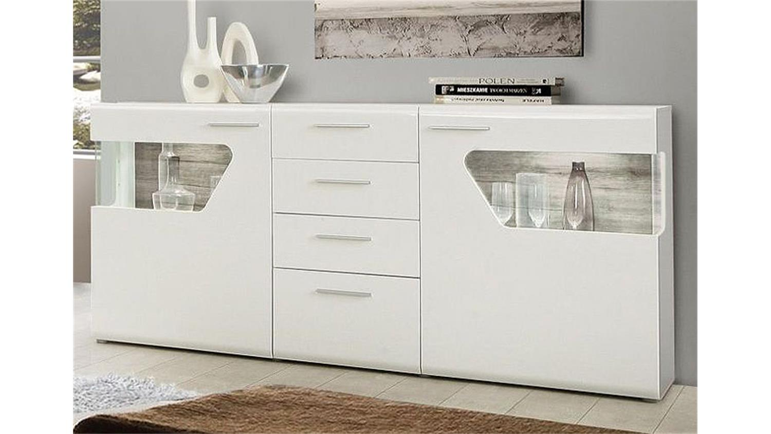 sideboard kando mdf wei hochglanz und sandeiche. Black Bedroom Furniture Sets. Home Design Ideas