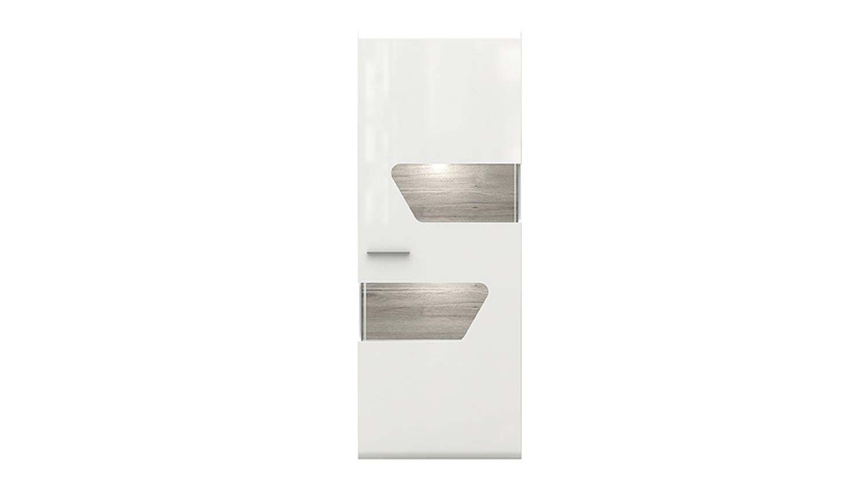 vitrine kando rechts mdf wei hochglanz und sandeiche. Black Bedroom Furniture Sets. Home Design Ideas