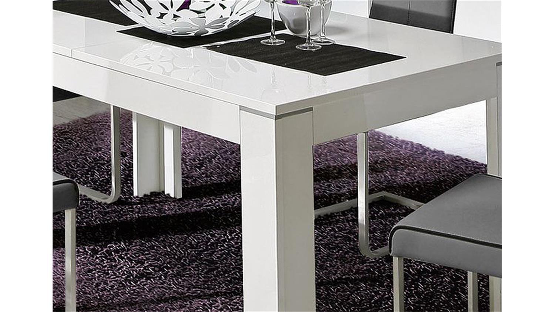 Esstisch 100x100 Ausziehbar Weiß : Esstisch KANDO Weiß Hochglanz ausziehbar 160-200x90 cm