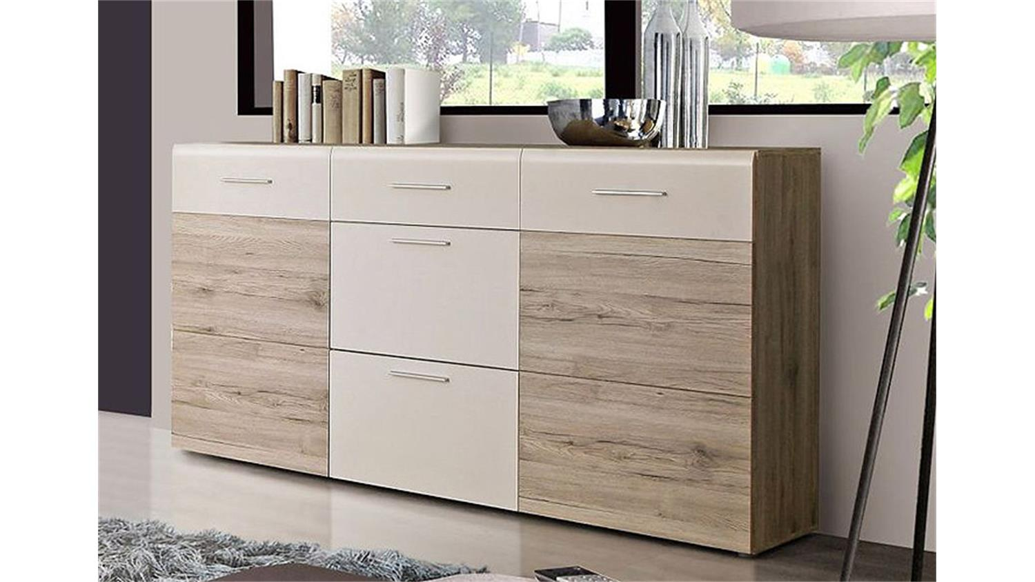 sideboard nabou anrichte kommode in sandeiche und wei. Black Bedroom Furniture Sets. Home Design Ideas
