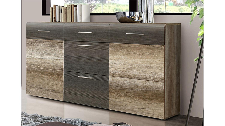 Sideboard nabou eiche antik und touchwood braun for Sideboard eiche