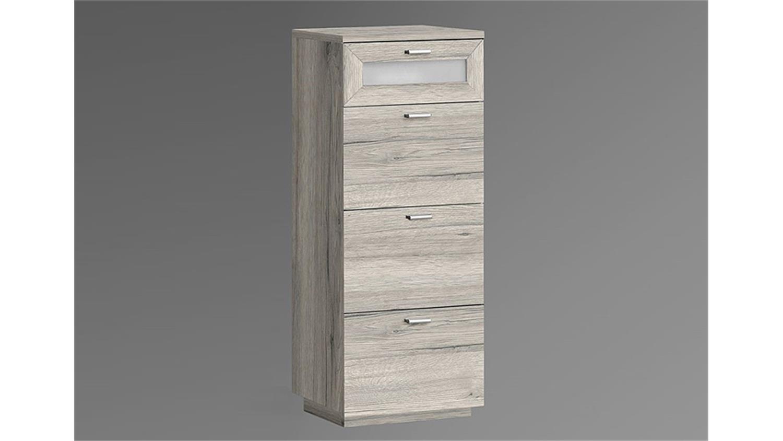 kommode nexus schubladenkommode in sandeiche und wei glas. Black Bedroom Furniture Sets. Home Design Ideas