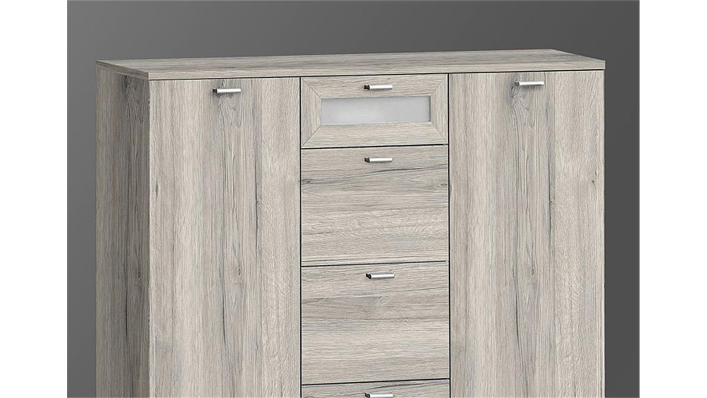 kommode iii nexus sandeiche und wei glas. Black Bedroom Furniture Sets. Home Design Ideas