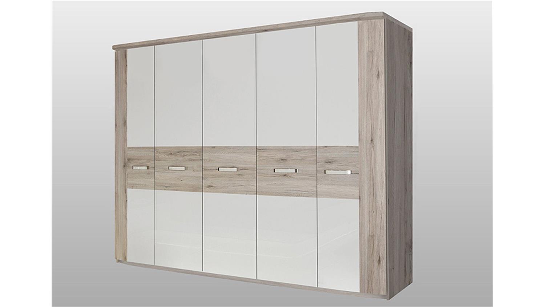 kleiderschrank rondino sandeiche und wei hochglanz inkl led. Black Bedroom Furniture Sets. Home Design Ideas