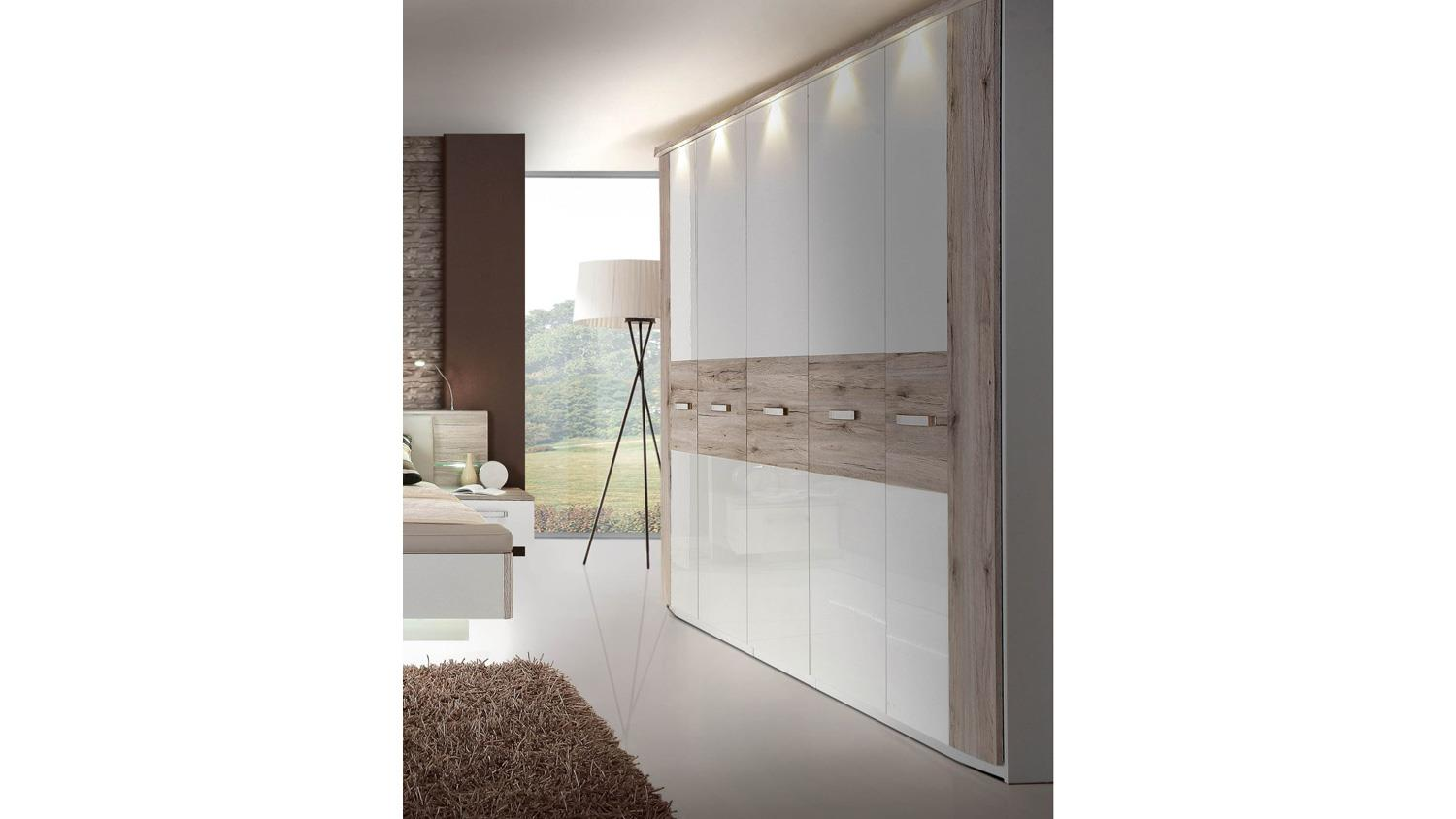 kleiderschrank rondino in sandeiche und wei hochglanz mit led 250 cm. Black Bedroom Furniture Sets. Home Design Ideas
