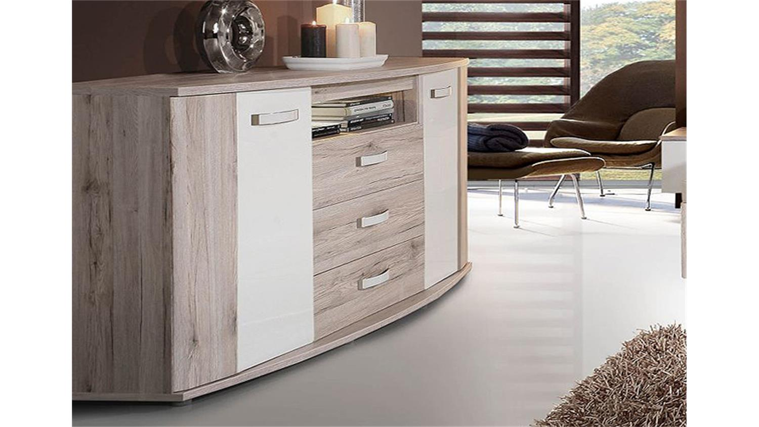 sideboard rondino sandeiche und wei hochglanz inkl led. Black Bedroom Furniture Sets. Home Design Ideas