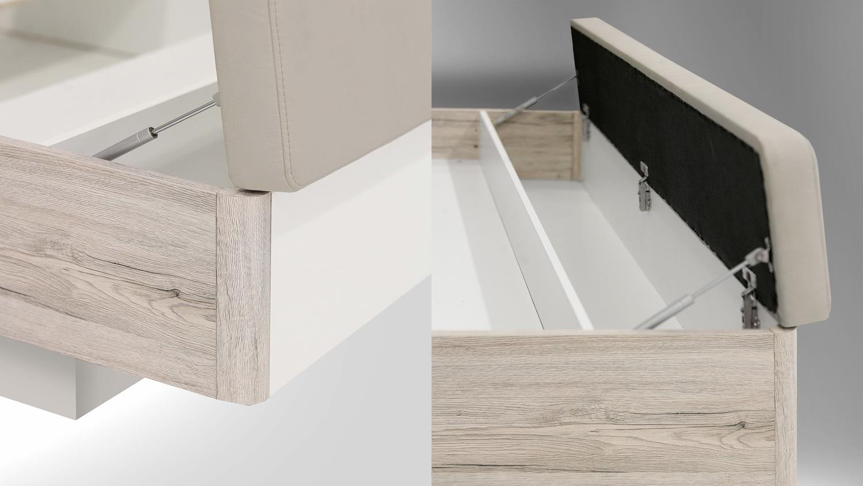 bettanlage rondino futonbett sandeiche wei hochglanz mit led 180x200. Black Bedroom Furniture Sets. Home Design Ideas