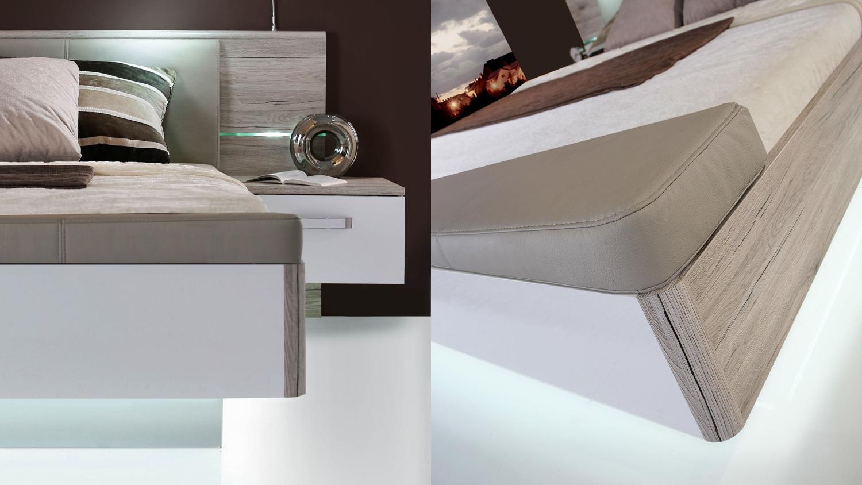 schlafzimmer 1 rondino komplettset in sandeiche wei hochglanz mit led. Black Bedroom Furniture Sets. Home Design Ideas