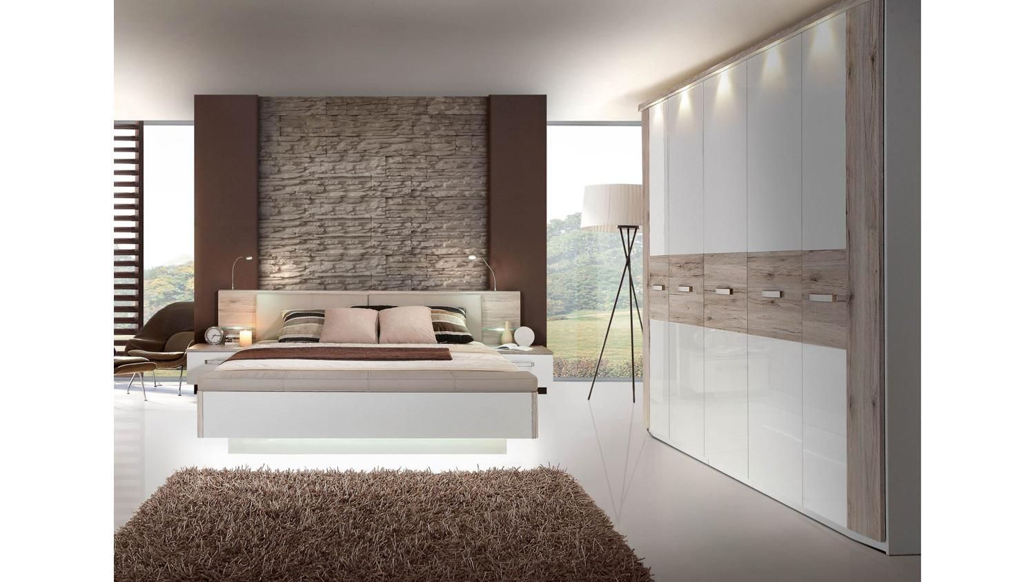schlafzimmer 2 rondino komplettset in sandeiche wei hochglanz mit led. Black Bedroom Furniture Sets. Home Design Ideas