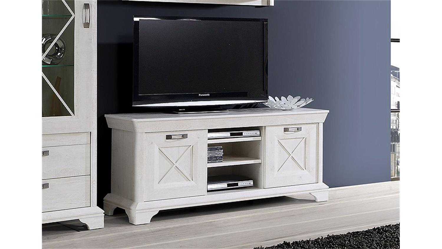 tv board 2 kashmir lowboard tv unterschrank in pinie wei. Black Bedroom Furniture Sets. Home Design Ideas