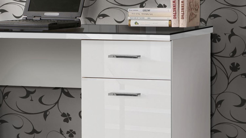 Schreibtisch weiß hochglanz glas  NET106 in weiß Hochglanz Platte Glas schwarz 145x60 cm