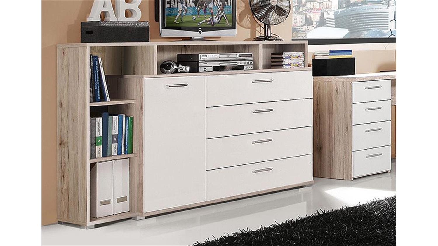 sideboard beach kommode anrichte sandeiche wei 153 cm. Black Bedroom Furniture Sets. Home Design Ideas