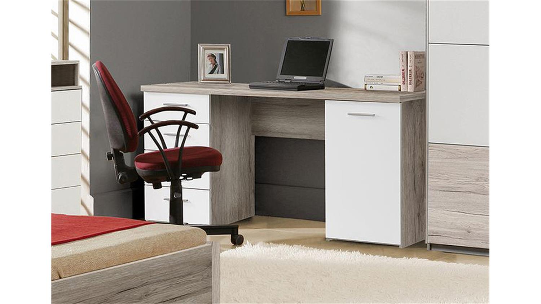 Schreibtisch beach computertisch in sandeiche und wei for Computertisch schreibtisch