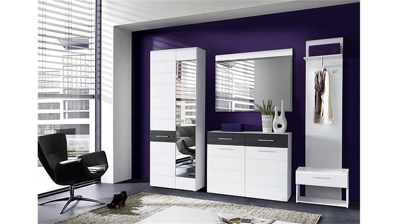 schuhschrank polar kommode wei hochglanz eiche schwarz. Black Bedroom Furniture Sets. Home Design Ideas