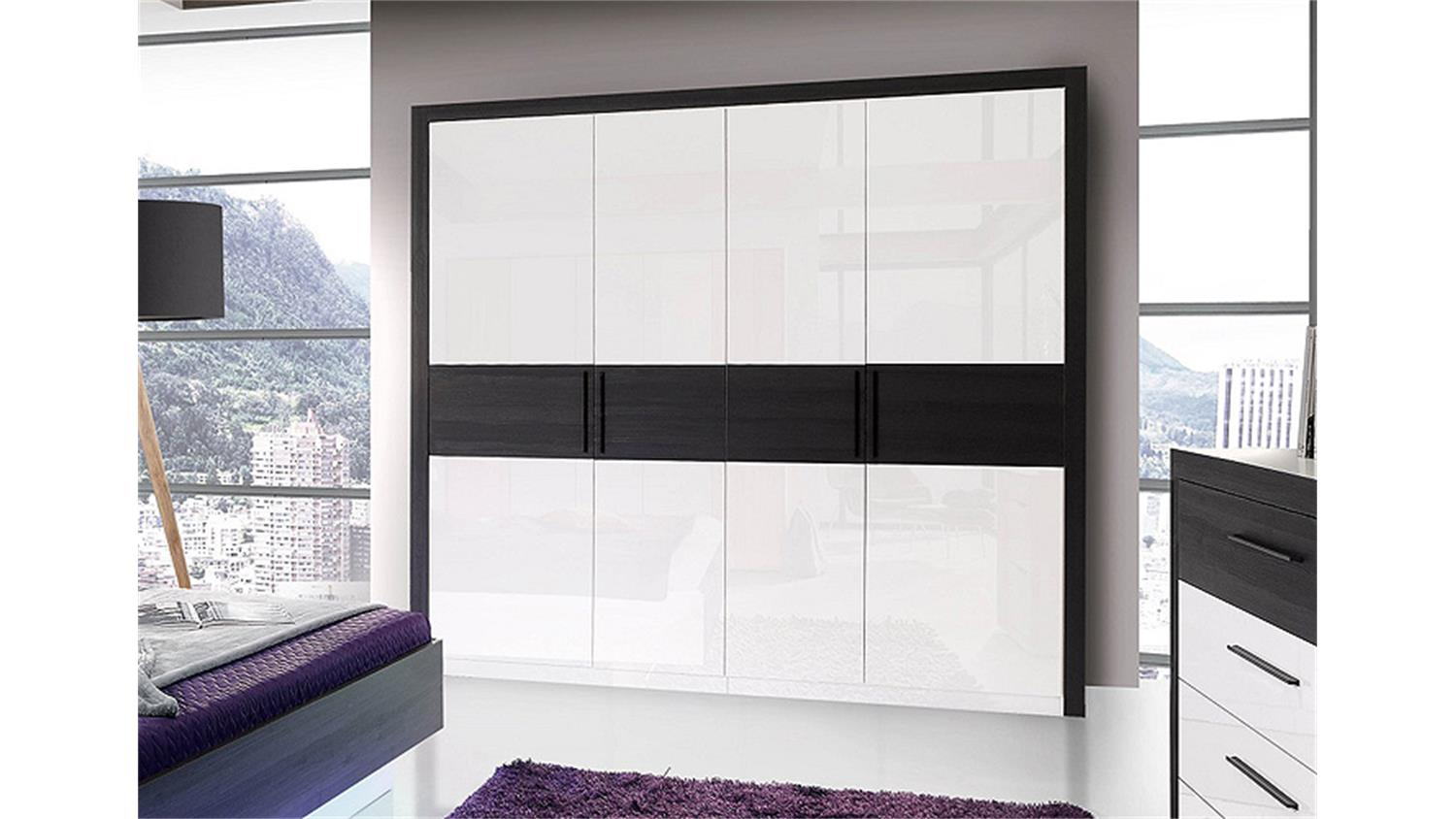 kleiderschrank wei schwarz hochglanz dekoration. Black Bedroom Furniture Sets. Home Design Ideas