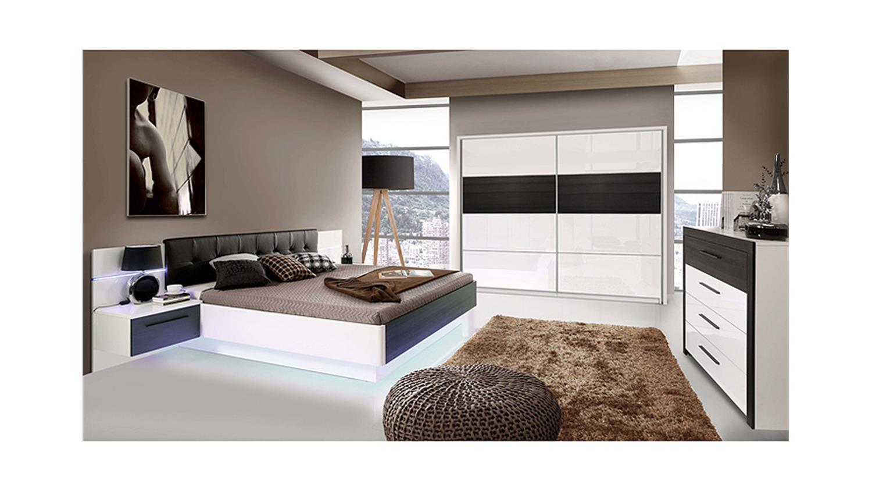 2 recover weiß hochglanz eiche schwarz mit led, Wohnzimmer dekoo