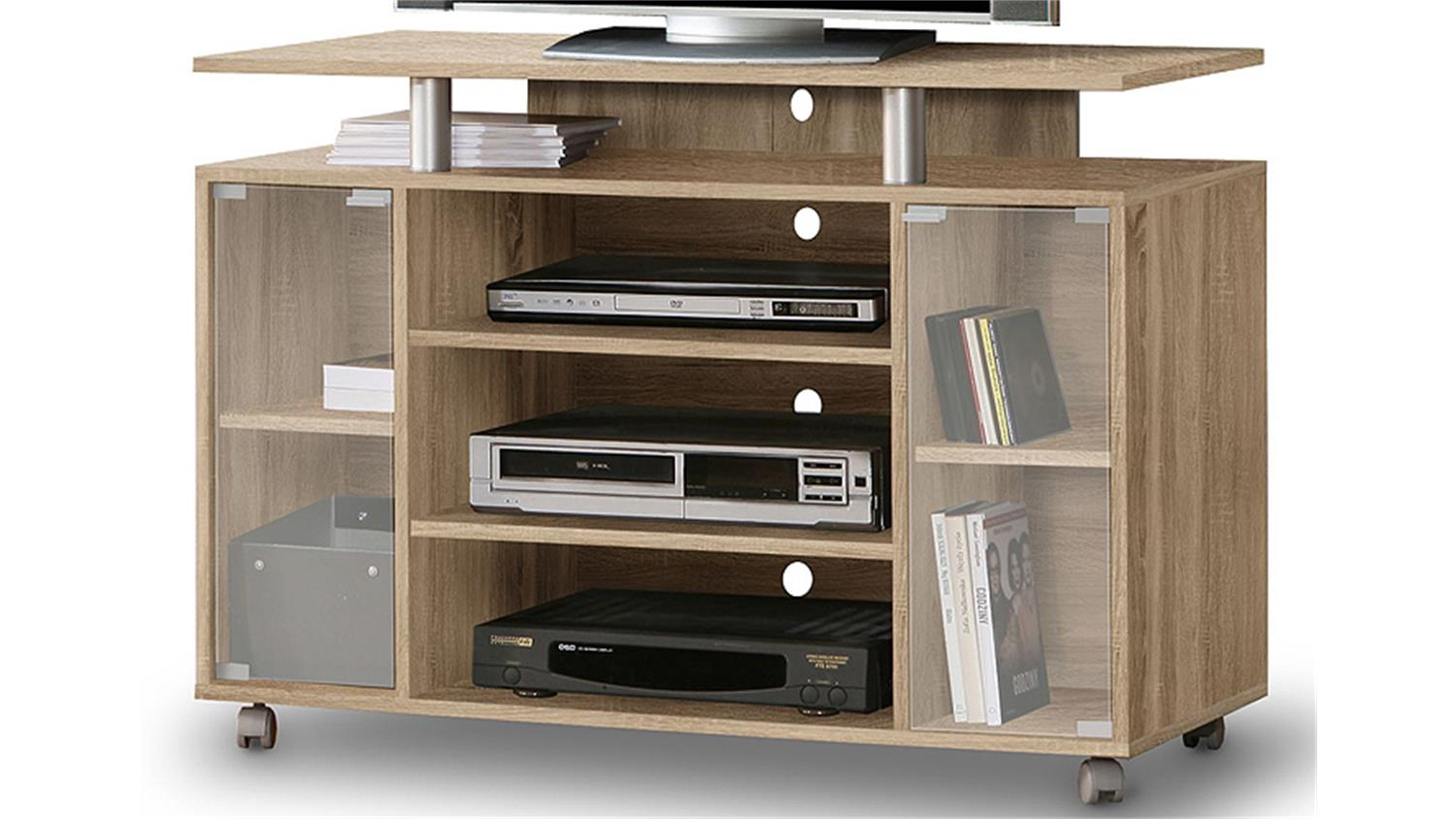 tv rack beistelltisch lowboard couchtisch wohnzimmertisch miami 1 regalboden 4 doppelrollen. Black Bedroom Furniture Sets. Home Design Ideas