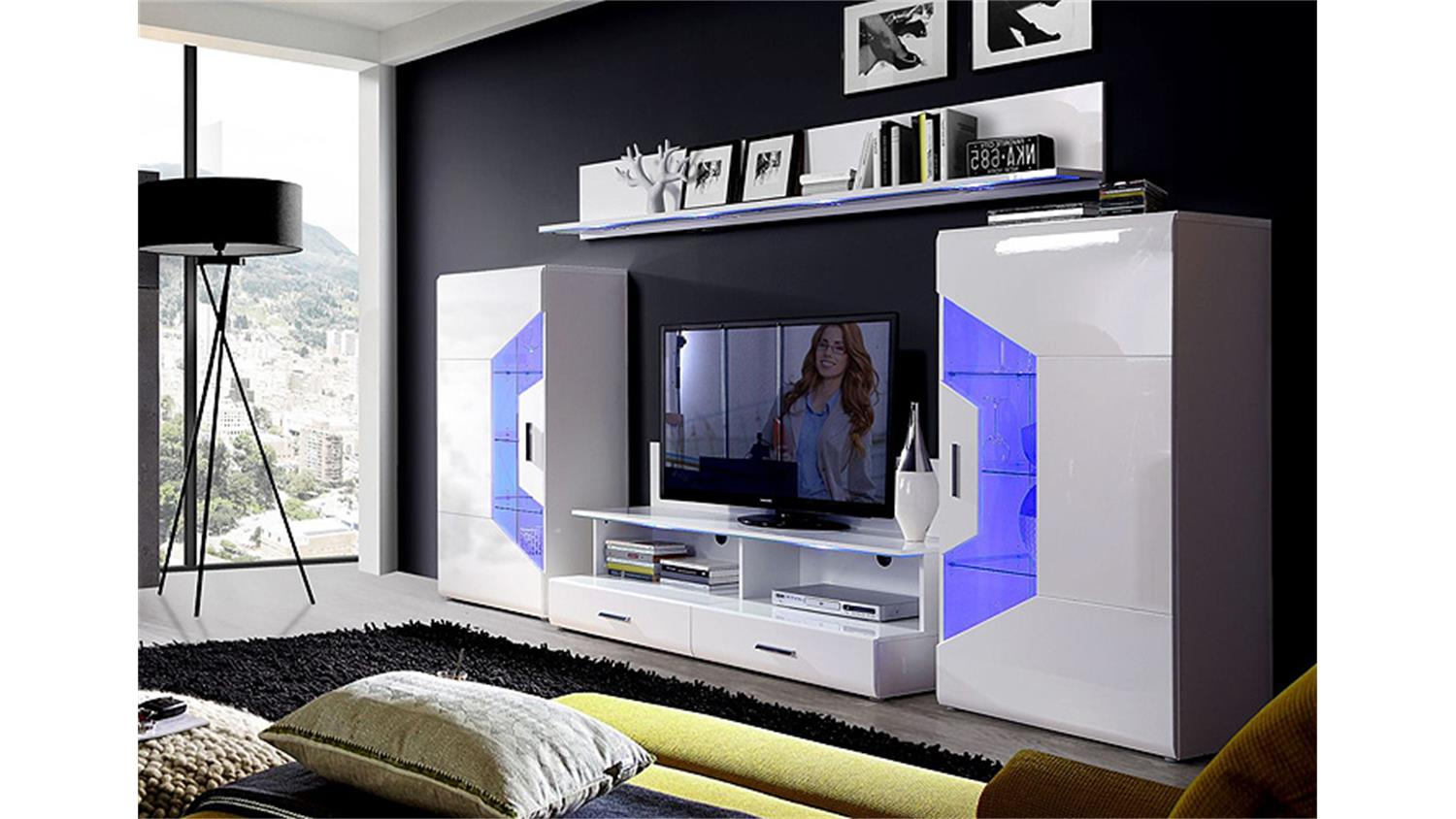 wohnwand saphir anbauwand wei hochglanz inkl led. Black Bedroom Furniture Sets. Home Design Ideas