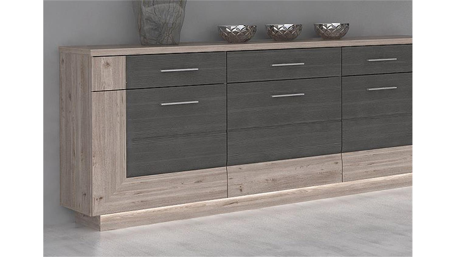 sideboard stairs kommode nelsoneiche und eiche grau inkl led. Black Bedroom Furniture Sets. Home Design Ideas