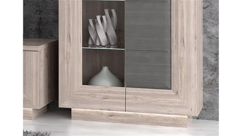 vitrine stairs schrank nelsoneiche und eiche grau inkl led. Black Bedroom Furniture Sets. Home Design Ideas