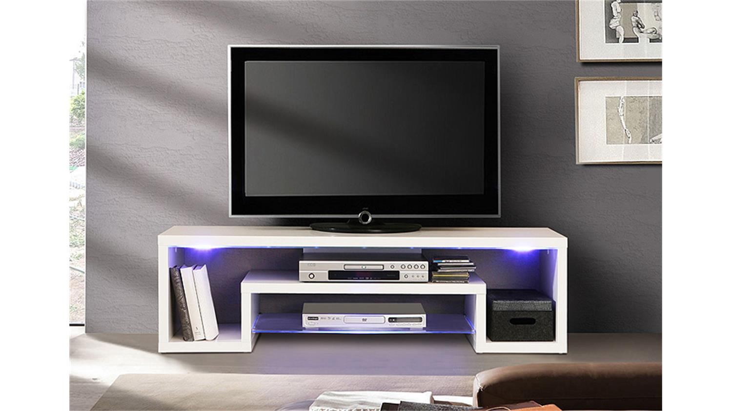 tv board cara unterschrank lowboard wei hochglanz mit led. Black Bedroom Furniture Sets. Home Design Ideas