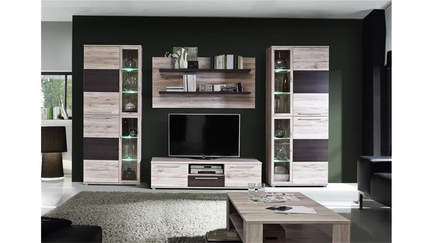 wohnwand allister anbauwand sandeiche touchwood inkl led. Black Bedroom Furniture Sets. Home Design Ideas