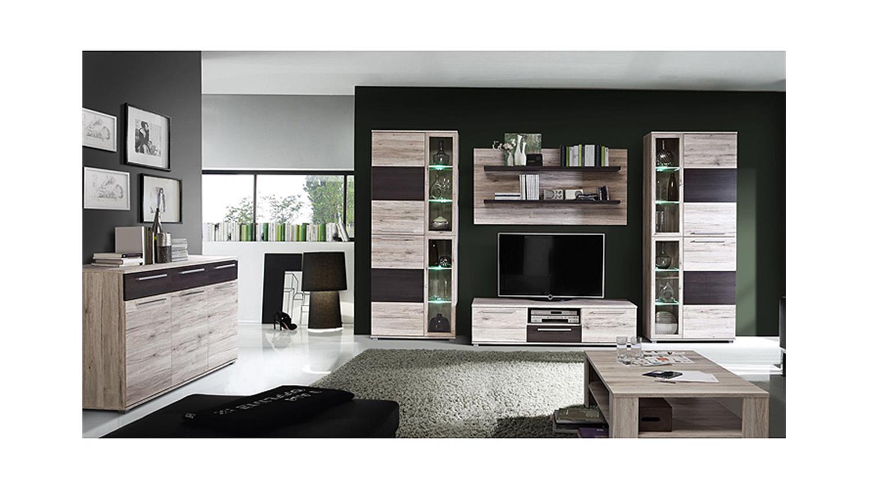 wohnwand allister anbauwand sandeiche touchwood inkl led. Black Bedroom Furniture Sets. Home Design Ideas
