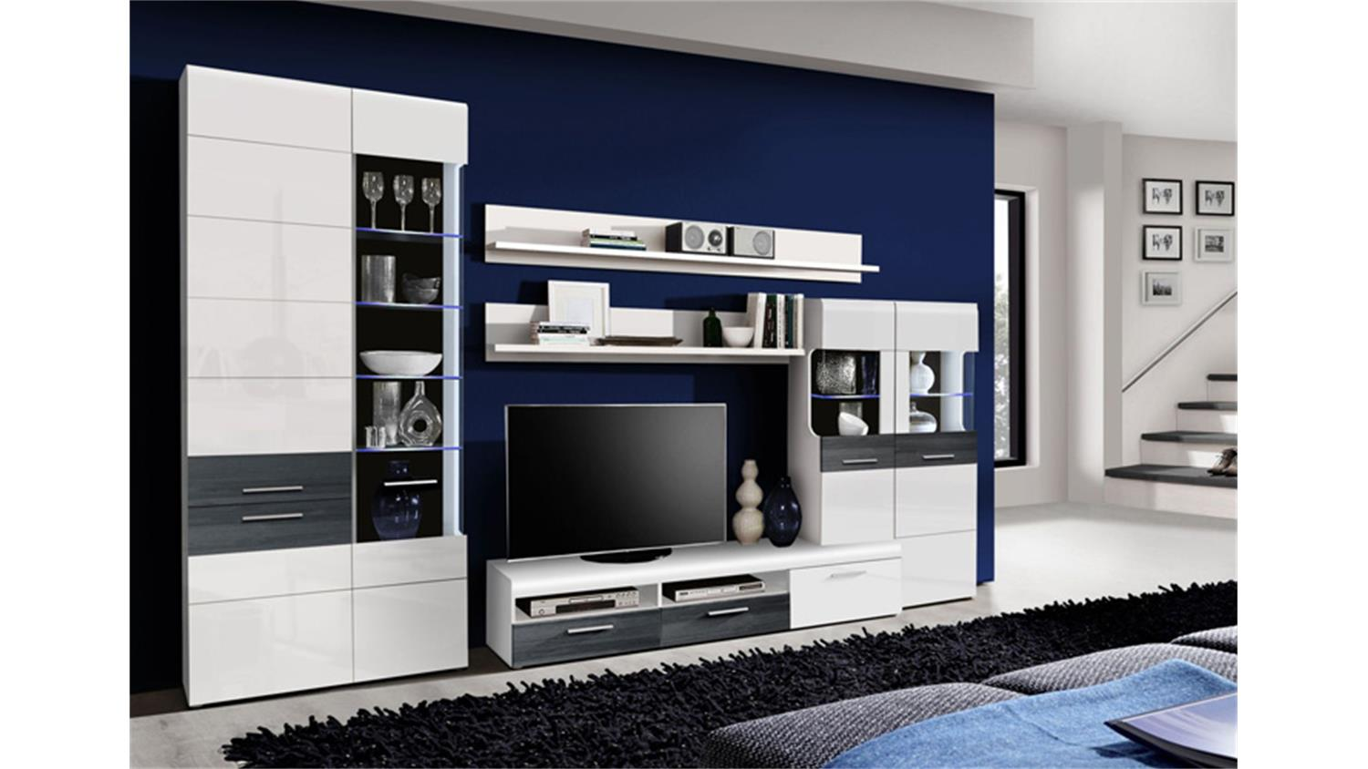 wohnwand cortino wei hochglanz schwarzeiche inkl led. Black Bedroom Furniture Sets. Home Design Ideas