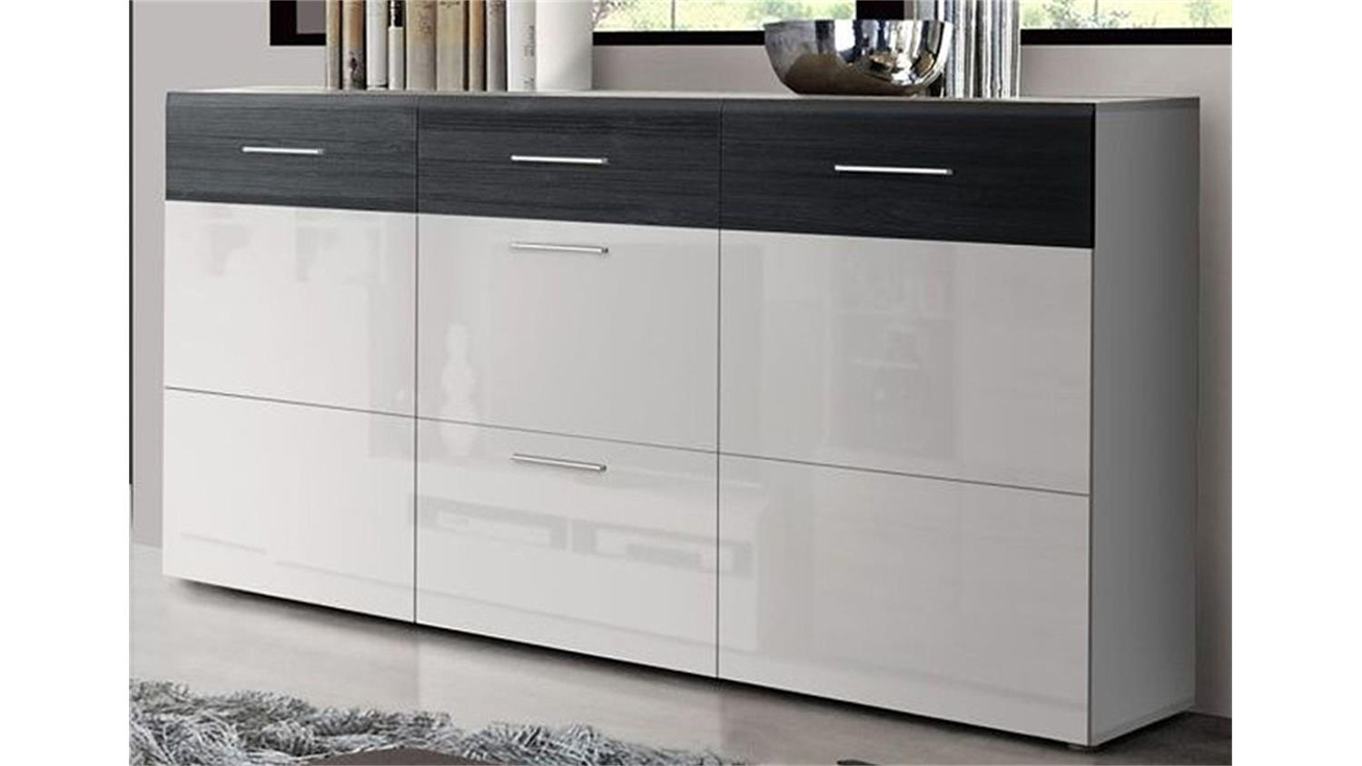 sideboard cortino kommode wei hochglanz schwarzeiche. Black Bedroom Furniture Sets. Home Design Ideas