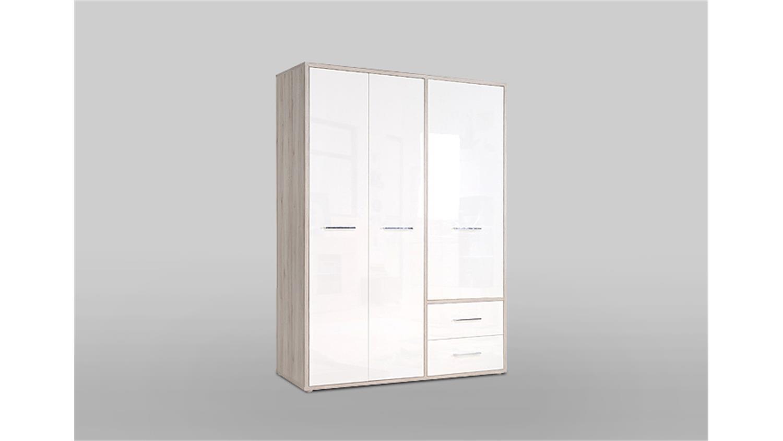 kleiderschrank jandia schrank wei hochglanz sandeiche 147 cm. Black Bedroom Furniture Sets. Home Design Ideas