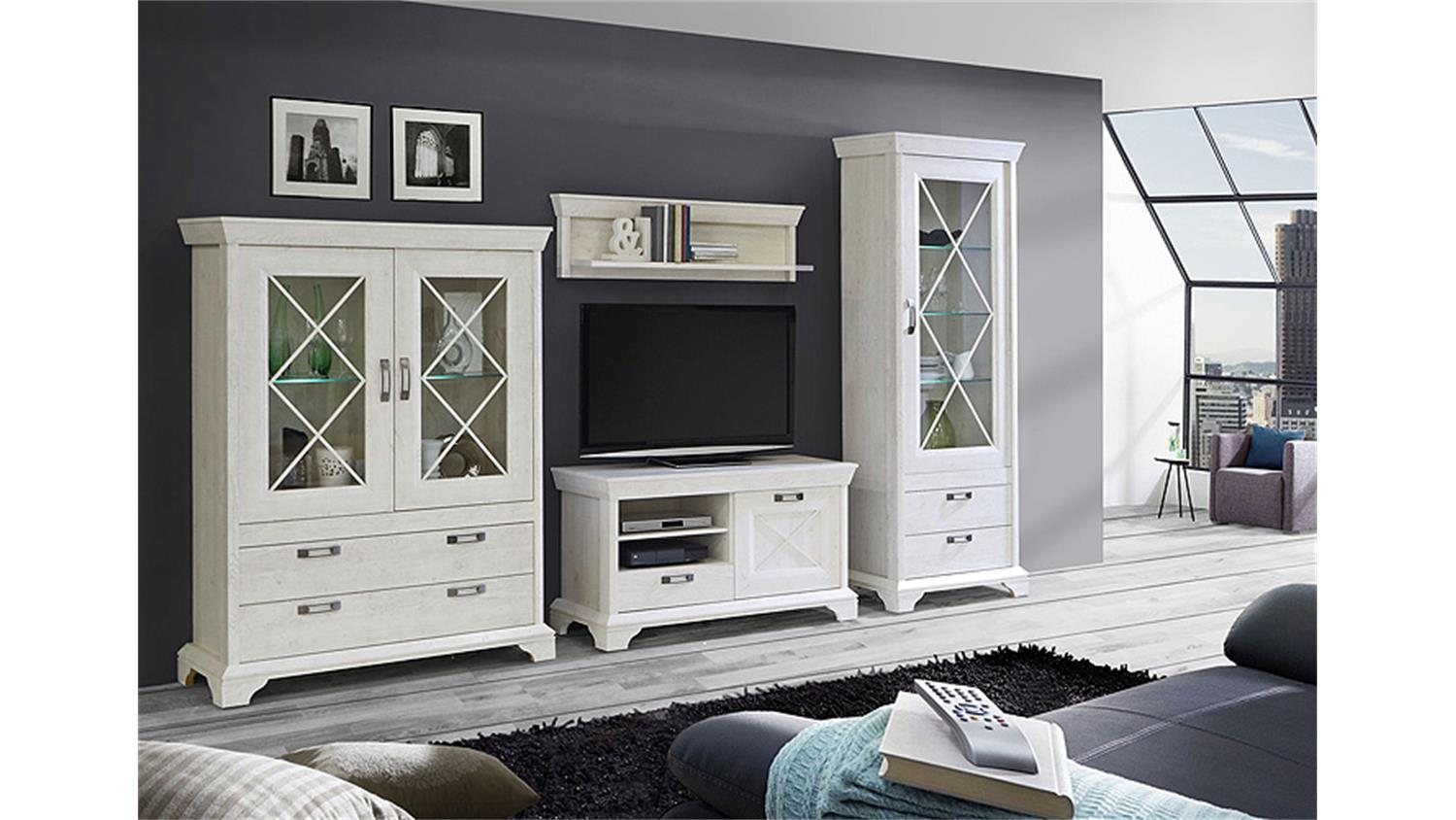 wohnwand 1 kashmir anbauwand in pinie wei inkl led. Black Bedroom Furniture Sets. Home Design Ideas