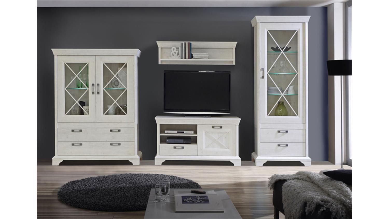 wohnwand 1 kashmir anbauwand in pinie wei inkl led. Black Bedroom Furniture Sets. Home Design Ideas