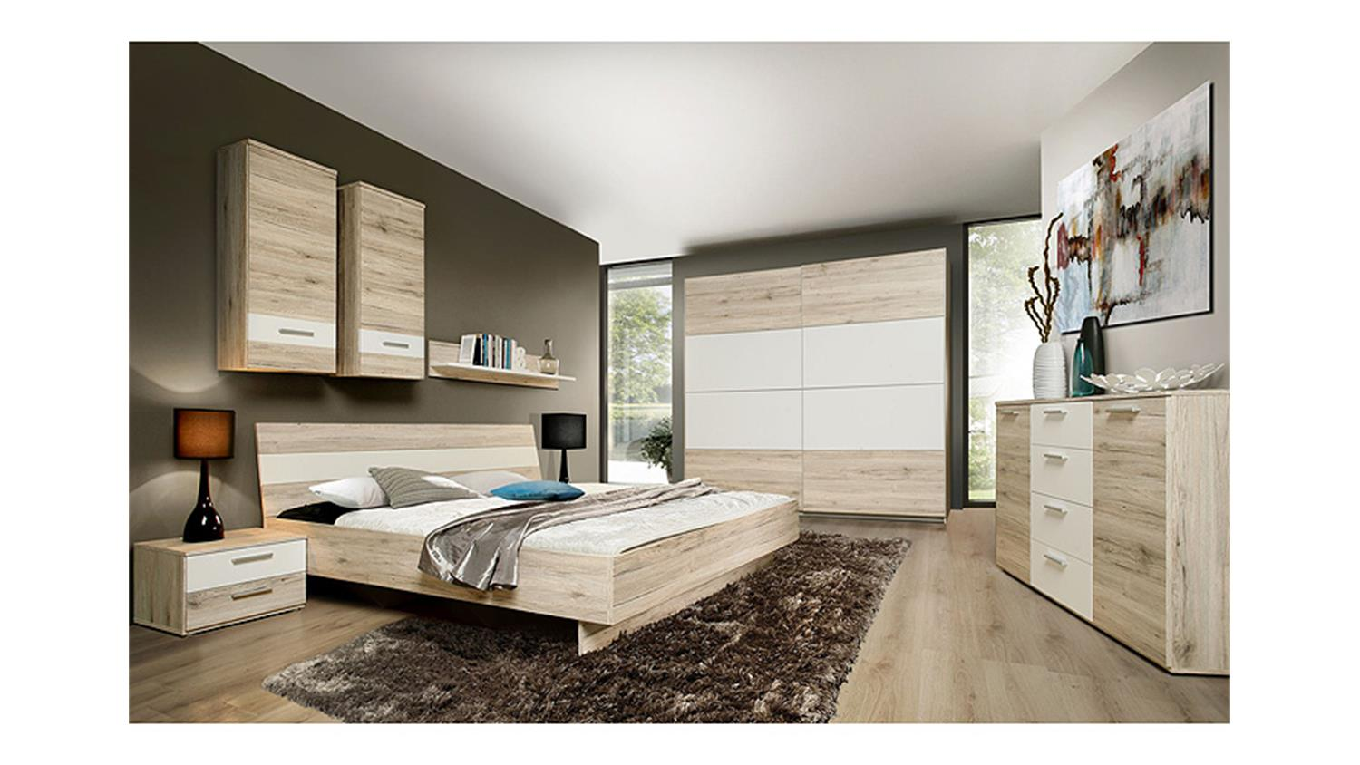schlafzimmerset valerie schlafzimmer in sandeiche wei. Black Bedroom Furniture Sets. Home Design Ideas