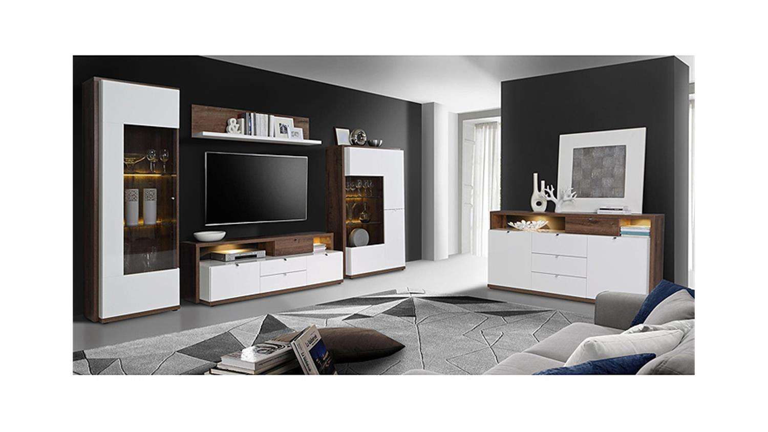 vitrine alcano glasvitrine wei hochglanz schlammeiche. Black Bedroom Furniture Sets. Home Design Ideas