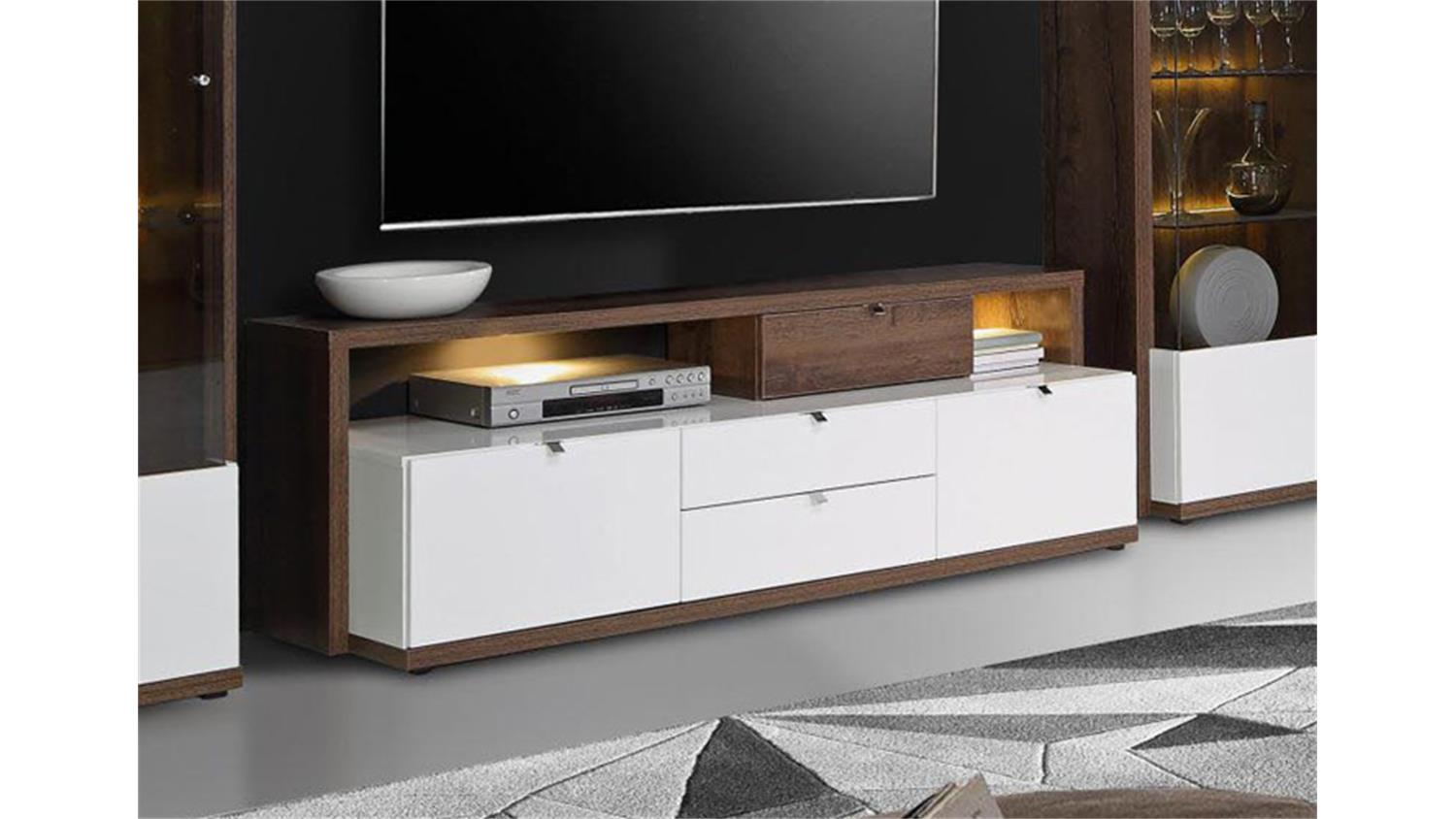 tv board alcano lowboard wei hochglanz schlammeiche. Black Bedroom Furniture Sets. Home Design Ideas