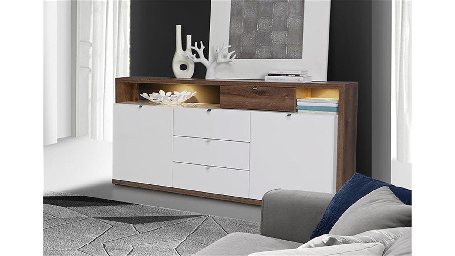 sideboard 1 alcano kommode wei hochglanz schlammeiche. Black Bedroom Furniture Sets. Home Design Ideas