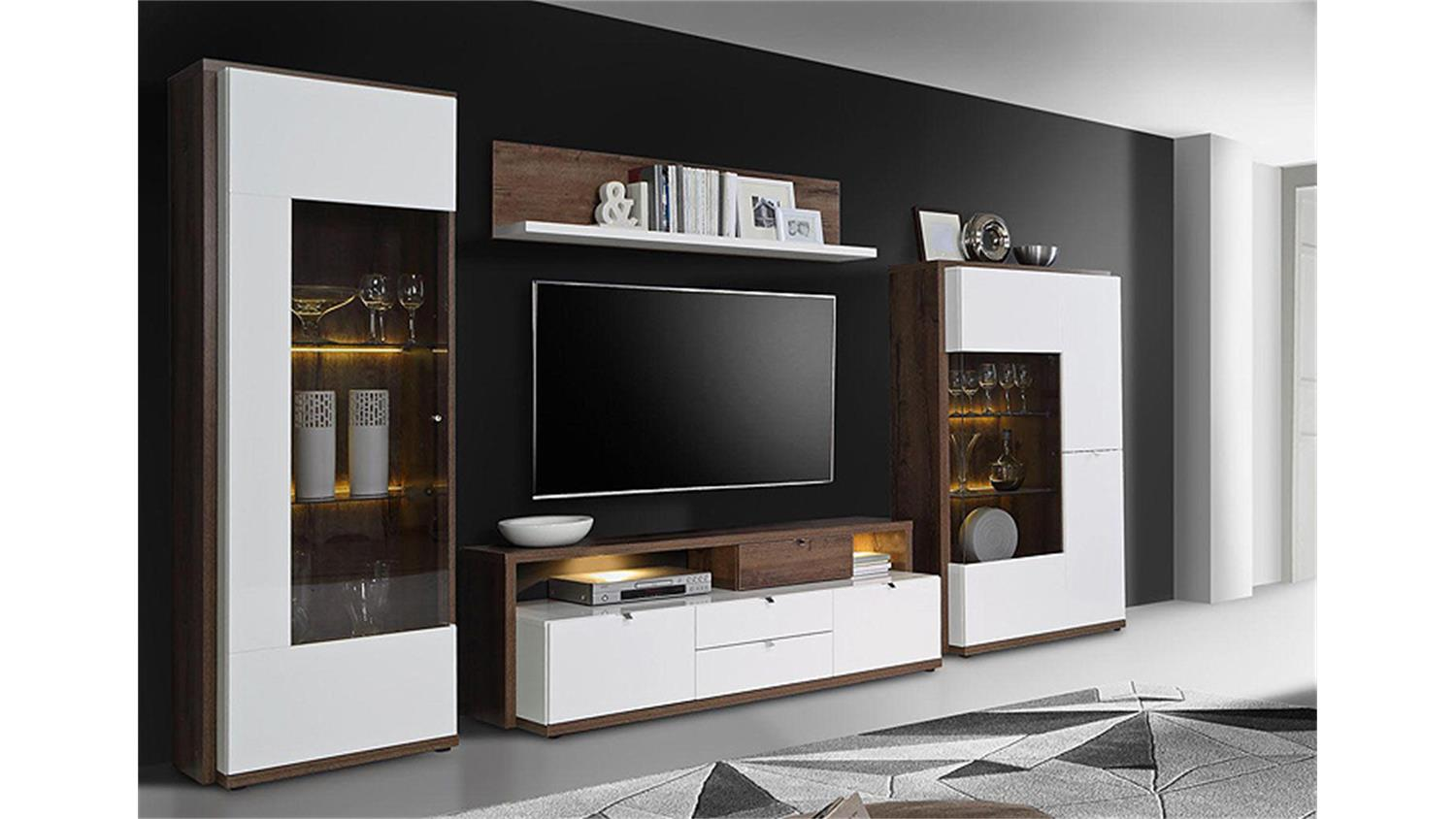 wohnwand alcano anbauwand wei hochglanz schlammeiche. Black Bedroom Furniture Sets. Home Design Ideas