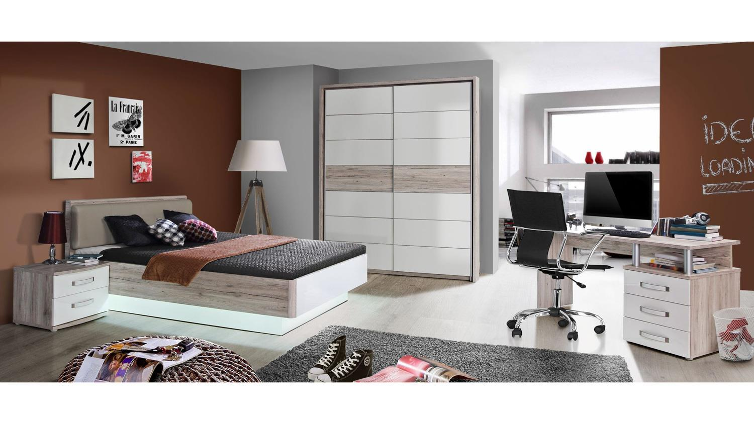 bett rondino jugendzimmerbett in sandeiche und wei hochglanz 140x200. Black Bedroom Furniture Sets. Home Design Ideas