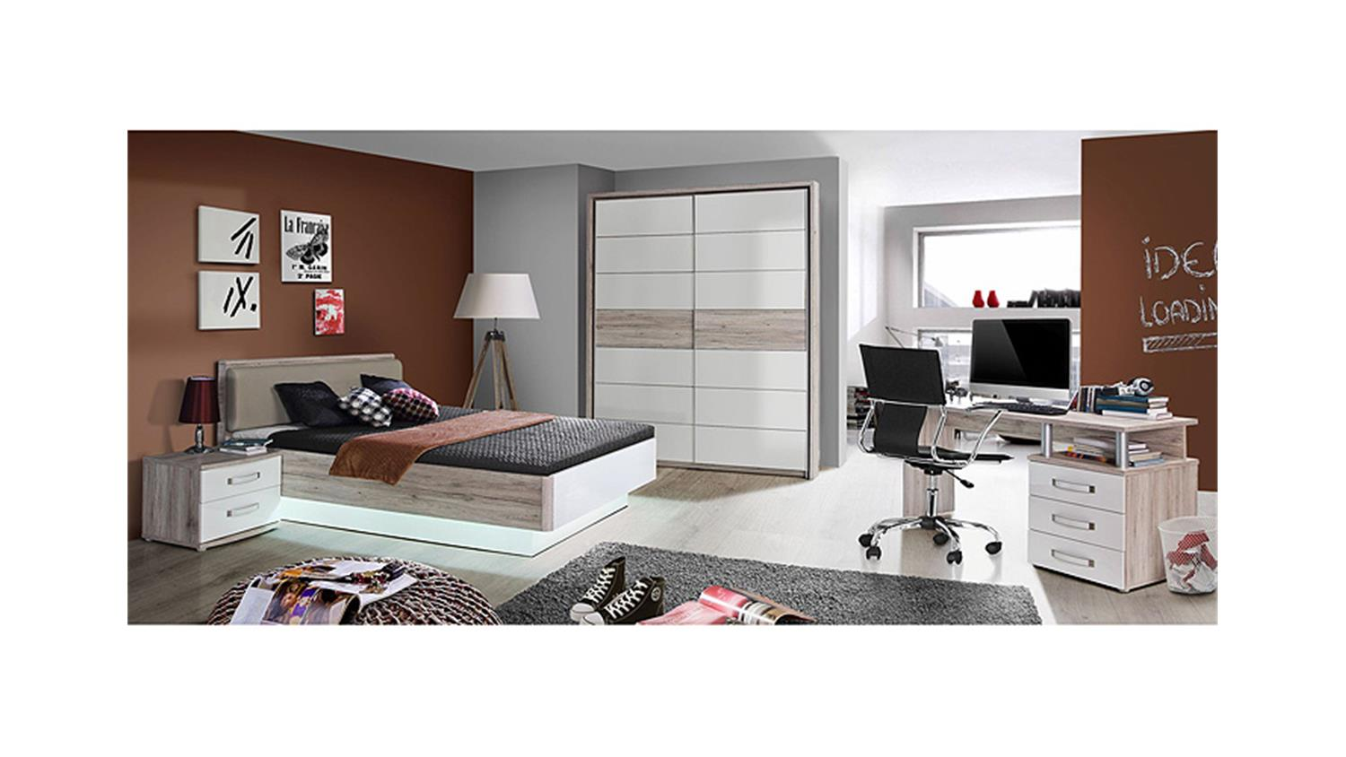 schreibtisch rondino computertisch sandeiche wei hochglanz. Black Bedroom Furniture Sets. Home Design Ideas