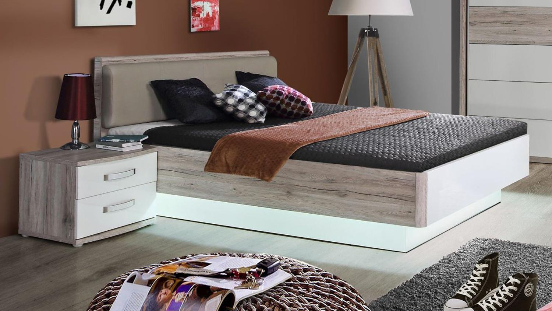 Jugendzimmer komplett weiß hochglanz  RONDINO Komplett Set in Sandeiche und weiß Hochglanz