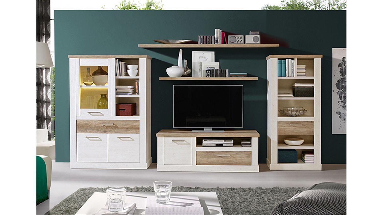 tv unterschrank duro tv board pinie wei und eiche antik. Black Bedroom Furniture Sets. Home Design Ideas