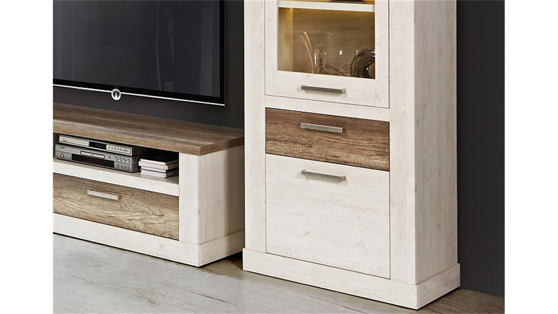 wohnwand 2 duro anbauwand in pinie wei und eiche antik. Black Bedroom Furniture Sets. Home Design Ideas