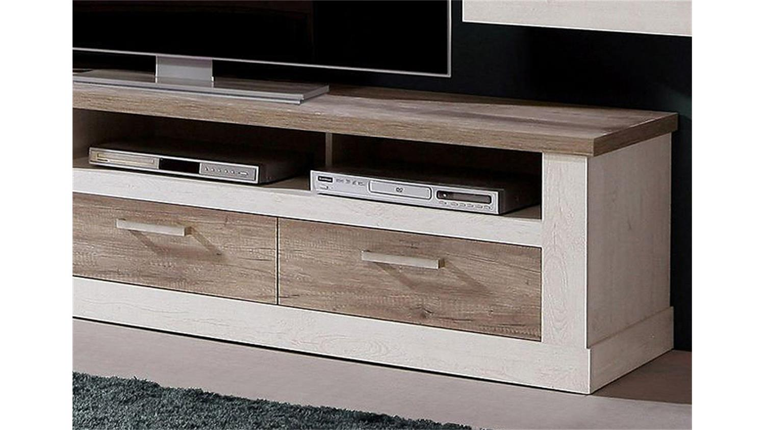 tv unterschrank 2 duro tv board pinie wei und eiche antik. Black Bedroom Furniture Sets. Home Design Ideas