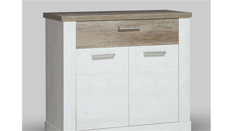 kommode 1 duro sideboard in pinie wei und eiche antik. Black Bedroom Furniture Sets. Home Design Ideas