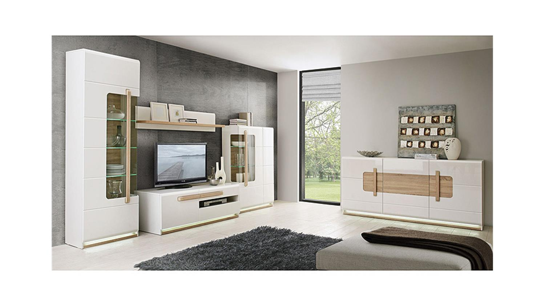 vitrine attention schrank wei glanz sonoma eiche inkl led. Black Bedroom Furniture Sets. Home Design Ideas