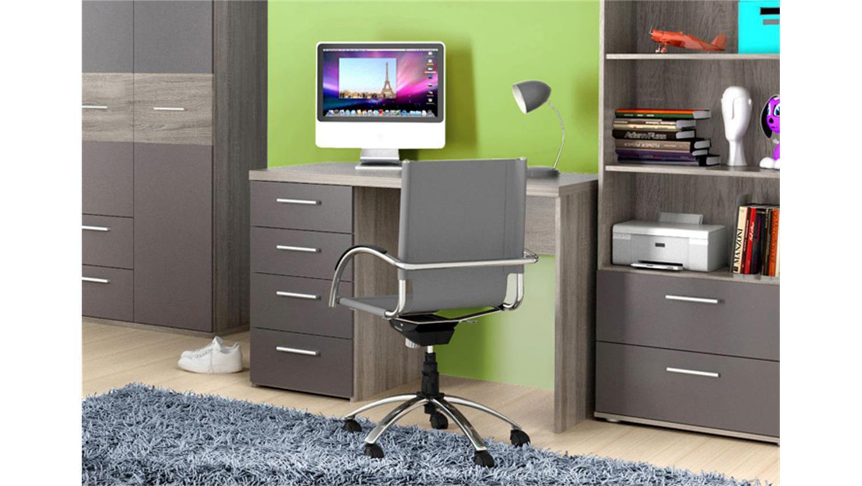 schreibtisch jimmy computertisch sonoma eiche grau matt. Black Bedroom Furniture Sets. Home Design Ideas